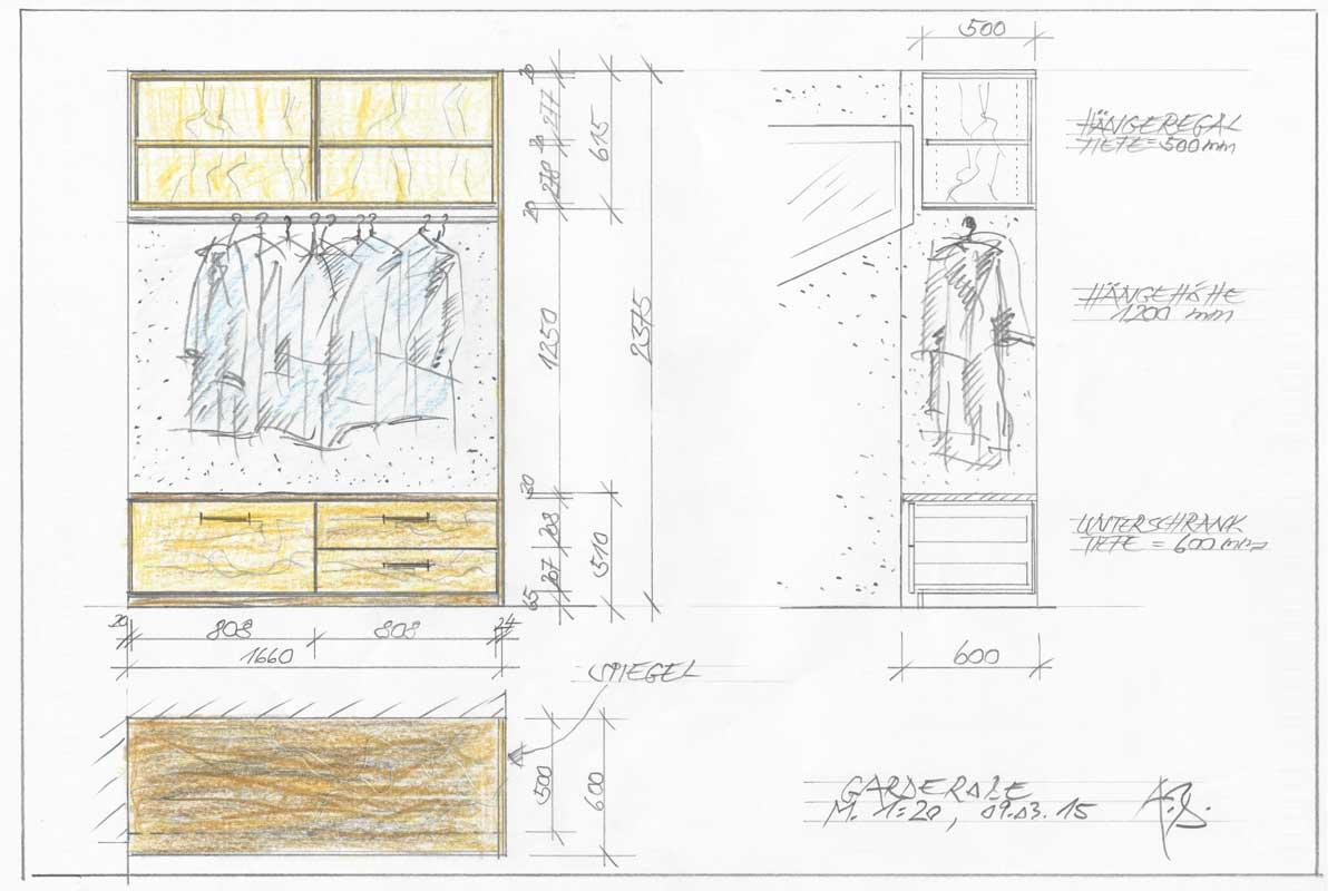 Skizze Garderobe